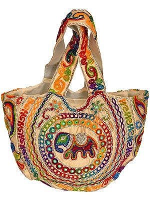 Alabaster-Gleam Shopper Bag from Gujarat with Embroidered Elephant and Mirrors