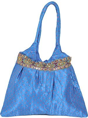 Satin Shopper Bag with Embroidered Patch Border and Bandhani Print