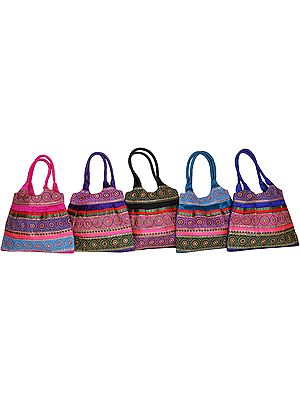Lot of Five Shopper Bags from Gujarat with Embroidered Chakras and Sequins