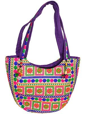 Star-White Floral Embroidered Shoulder Bag from Kutch with Mirrors
