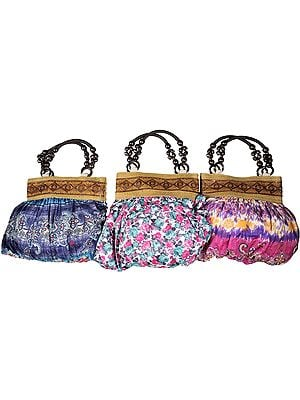 Lot of Three Hobo Bags with Printed Flowers and Wooden Handles