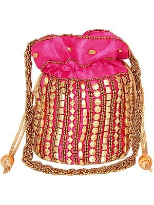 Potli Drawstring Bag with Dense Beadwork by Hand