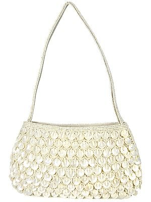 Clutch Bag with Densely Embroidered Pearls and Beads