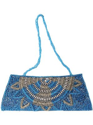Traditional Glam Clutch Coated With Azure And Silver Sequins