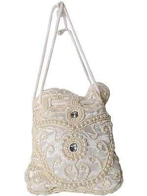Cream Drawstring Potli Bag with Faux Pearls and Beads