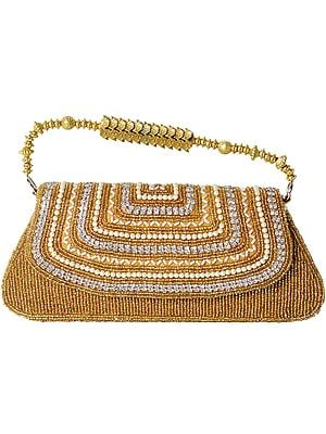 Handbag with Dense Beadwork and Faux Pearls