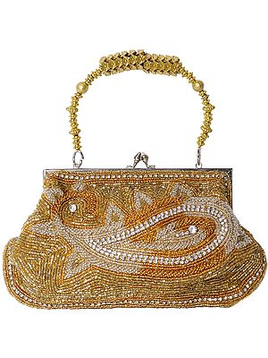 Golden Bracelet Bag with Beads Embroidered Paisleys