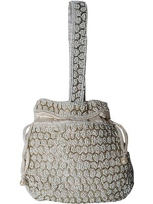 Ivory Drawstring Potli Bag with Antique Faux Pearl Embroidery