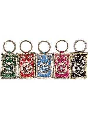 Lot of Five Bracelet Bags with Golden Beadwork