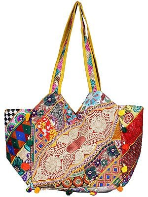 Multicolor Shoulder Bag from Kutch with Floral Embroidery