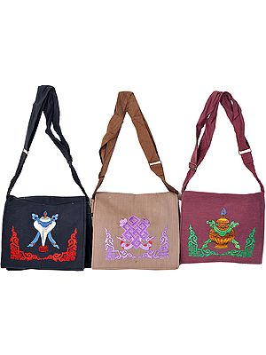 Lot of Three Jhola Bags with Embroidered Tibetan Ashtamangala Motifs