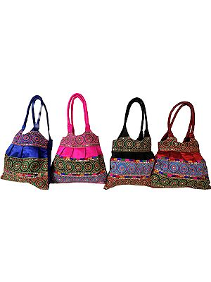 Lot of Four Shopper Bags with Embroidered Chakras