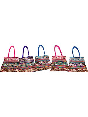 Lot of Five Shopper Bags with Embroidered Paisleys in Metallic Thread