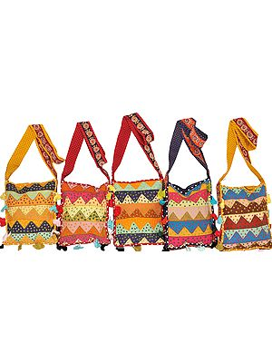 Lot of Five Jhola Bags with Patchwork and Kantha Embroidery