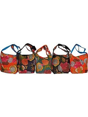 Lot of Five Sling Bags with Printed Flowers and Kantha Stitch