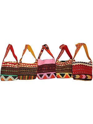 Lot of Five Kantha Embroidered Shopper Bags with Mirrors