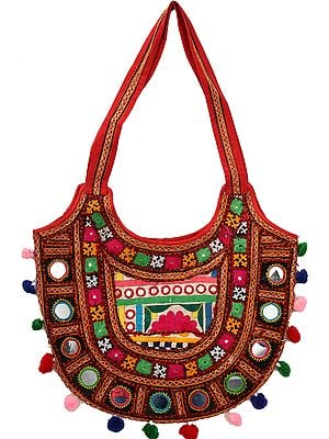 Multicolored Floral-Embroidered Shoulder Bag from Kutch