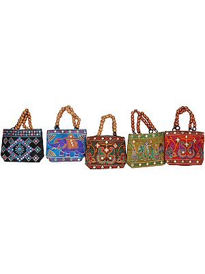 Lot of Five Embroidered Handbags from Kutch with Beaded Handles