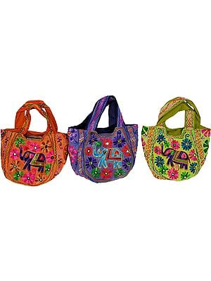 Lot of Three Shopper Bags from Gujarat with Ari Embroidered Elephants