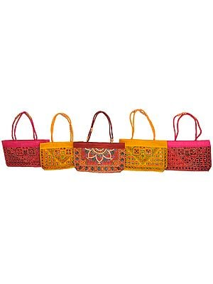 Lot of Five Hand Bags from Kutch with Embroidered Mirrors