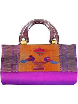 Purple Paithani Handbag with Hand-woven Peacocks