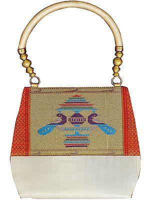 Ivory Paithani Handbag with Hand-woven Peacocks and Brocade Weave