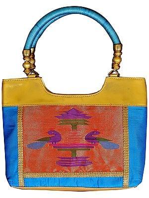 Turquoise Paithani Handbag with Hand-woven Peacocks