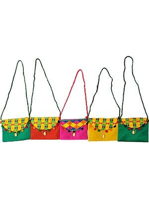 Lot of Five Shoulder Bags with Embroidered Front Flap