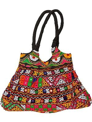 Multi-Color Embroidered Jhola Bag from Kutch with Mirrors