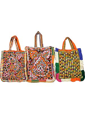 Lot of Three Antiquated Shopper Bags from Kutch with Rabari Embroidery and Mirrors