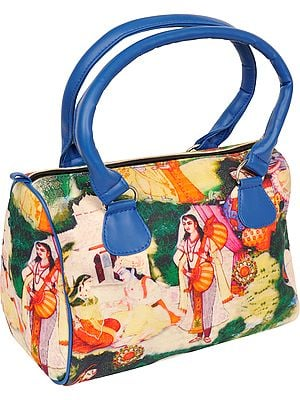 Green and Blue Tote Bag from Jaipur with Digital Ritual Print