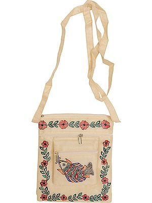 Ivory Passport Bag with Madhubani Hand-Painted Fish