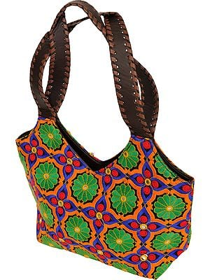 Multicolor Handbag from Jaipur with Embroidered Flowers and Mirrors