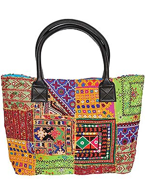 Shopper Bag from Kutch with Embroidered Patches and Mirrors