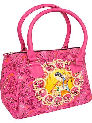 Carmine-Rose Tote Bag from Jaipur with Digital-Printed Mirabai