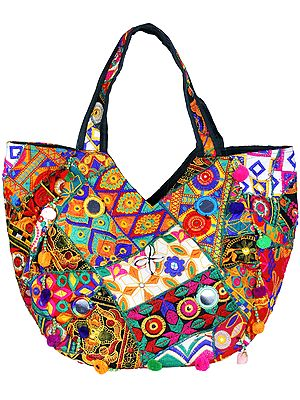 Multicolor Shopper Bag from Kutch with Floral-Embroidery and Mirrors