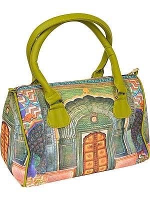 Leaf-Green Handbag from Jaipur with Digital Printed Haveli