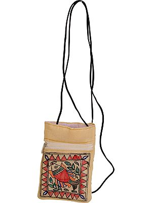 Cream Mobile Bag with Madhubani Hand-Painted Fish