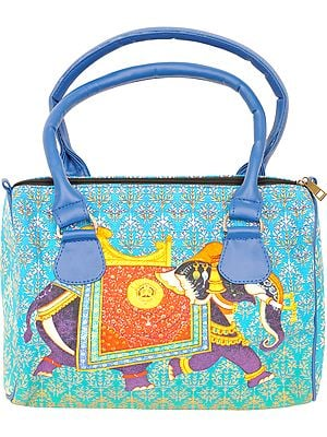 Cyan-Blue Tote Bag from Jaipur with Digital-Printed Royal Elephant