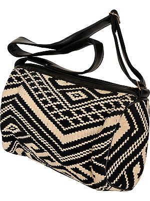 Black and White Wool-Embroidered Handbag with Adjustable Strap