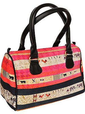 Pink and Black Tote Bag from Jaipur with Digital Print