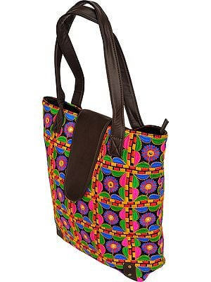 Multicolor Shopper Bag from Kutch with Embroidered Flowers and Mirrors