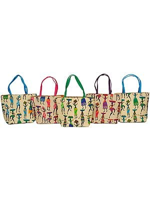 Lot of Five Shopper Bags with Digital Folk Print