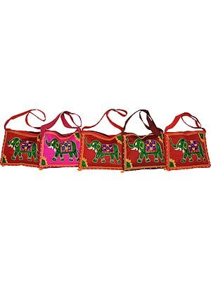 Lot of Five Shoulder Bags with Wool-Embroidered Elephant