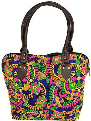 Multicolor Floral-Embroidered Handbag from Rajasthan