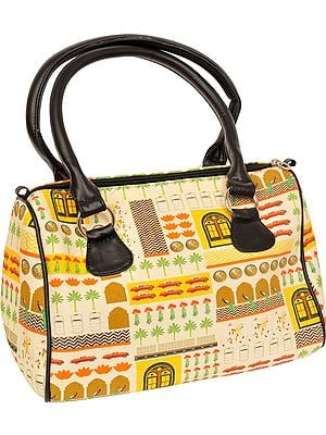 Cream and Black Tote Bag from Jaipur with Digital-Print