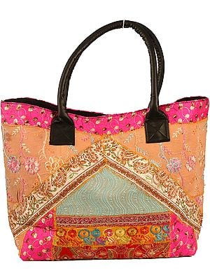 Multicolor Floral-Embroidered Large Shopper Bag from Kutch with Patchwork