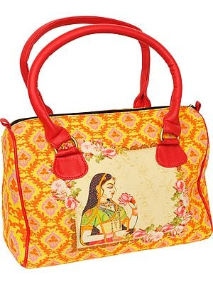 Yellow and Red Tote Bag from Jaipur with Digital-Printed Ragini