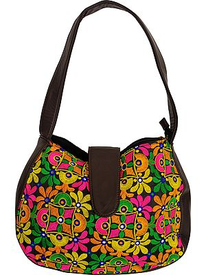 Multicolor Embroidered Shoulder Bag from Jaipur with Mirrors