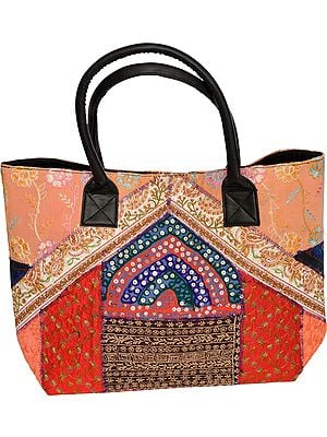 Multicolor Large Shopper Bag from Kutch with Embroidered Patchwork and Sequins